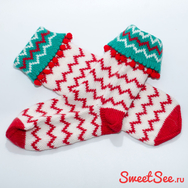 """Купить Теплые носки из шерсти """"Зигзаг"""" красно-белые, в интернет-магазине Sweetsee.ru"""