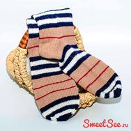 """Купить Мужские вязаные шерстяные носки """"Полосатые"""" бежево-черные, в интернет-магазине Sweetsee.ru"""