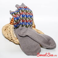 """Купить Мужские шерстяные носки ручной вязки """"Высокие горизонты"""""""
