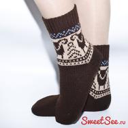 Купить Шерстяные носки с овечками, коричневые в интернет-магазине Sweetsee.ru