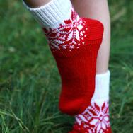 """Купить Носки с норвежским узором """"Счастливая звезда"""", красно-белые в интернет-магазине Sweetsee.ru"""