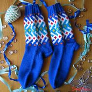 """Купить шерстяные носки ручной вязки """"Северные узоры"""" синие в интернет-магазине Sweetsee.ru"""