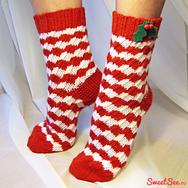 """Купить Шерстяные Носки """"Арлекино"""" красно-белые в интернет-магазине Sweetsee.ru"""