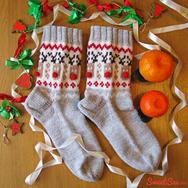 """Купить шерстяные носки с оленями """"Счастливые олени"""" серые в интернет-магазине Sweetsee.ru"""