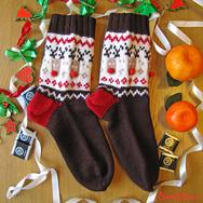 """Купить шерстяные носки с оленями """"Счастливые олени"""" коричневые в интернет-магазине Sweetsee.ru"""