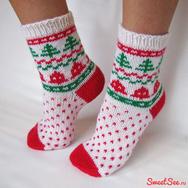 """Купить новогодние носки """"Колокольчики"""" из 100% шерсти в интернет-магазине Sweetsee.ru"""