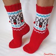 """Купить новогодние носки с оленями """"Счастливые олени"""", красные с коричневыми мордашками. Москва, интернет-магазин Sweetsee.ru"""