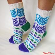 Купить Шерстяные Носки с Совами, цветные, в интернет-магазине Sweetsee.ru