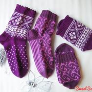 """Купить подарок влюбленной паре - Комплект шерстяных носков """"Фиолетовый"""" в интернет-магазине Sweetsee.ru"""