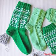 """Купить Теплый новогодний подарок для пары -комплект носков из шерсти """"Зеленый"""" в интернет-магазине Sweetsee.ru"""