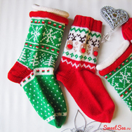 """Купить Новогодний Комплект вязаных носков """"Красно-Зеленый"""" из 100% шерсти в интернет-магазине Sweetsee.ru"""