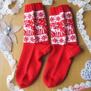 """Купить Красные носки с оленями """"Снежные Олени"""" в интернет-магазине Sweetsee.ru"""