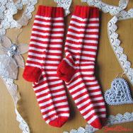 """Купить красные носки в белую полоску """"Полосатики"""" в интернет-магазине Sweetsee.ru"""