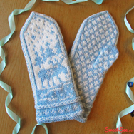 Купить Варежки с оленями из 100% шерсти в интернет-магазине Sweetsee.ru