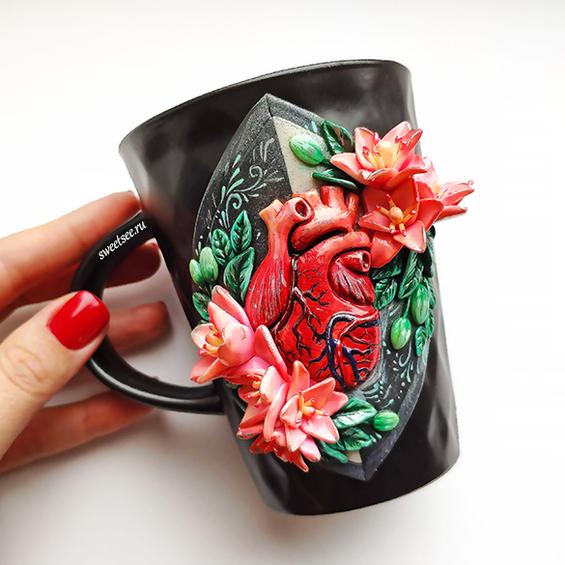 """Кружка """"Сердце"""" из полимерной глины, купить на сайте Sweetsee.ru"""