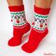 """Купить Вязаные носки с оленями """"Счастливые олени"""", красные с бежевыми мордашками. Москва, интернет-магазин Sweetsee.ru"""