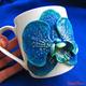 """Купить Кружку украшенную полимерной глиной """"Орхидея синяя"""" в интернет-магазине Sweetsee.ru"""