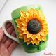 Купить кружку с подсолнухом из полимерной глины в интернет-магазине Sweetsee.ru