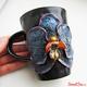"""Купить кружку с полимерной глиной """"Черная Орхидея"""" в интернет-магазине Sweetsee.ru"""